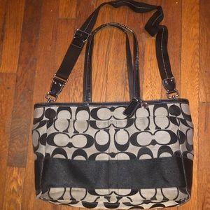 Coach f13893 black signature jacquard big bag